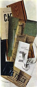 Glass Carafe and Newspapers, 1914, Georges Braque, WikiArt.org